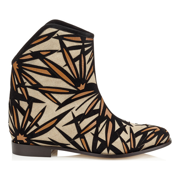 JIMMY CHOO Mina flat palm leather appliqué on canvas boots - Perfectly embodying the bohemian 70's vibe with a relaxed...
