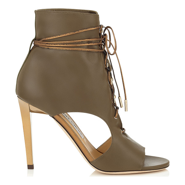 JIMMY CHOO Minka 100 moss soft leather and honey gold mirror leather shoe booties - These peep toe cut out booties have an edgy attitude. Clean...