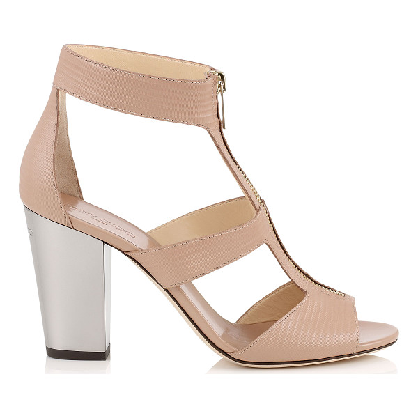 JIMMY CHOO Misty 85 ballet pink embossed striped leather chunky heeled sandals - Misty is the perfect transition style to take you through...