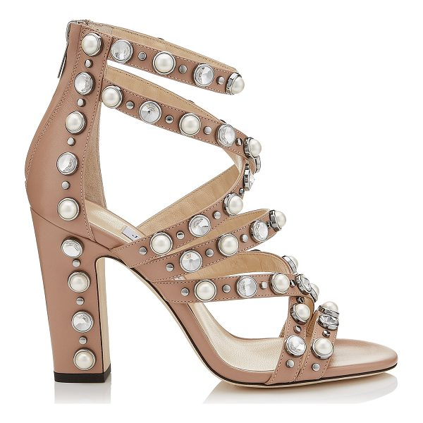JIMMY CHOO MOORE 100 Ballet Pink Calf Leather Sandals with Beads and Crystals - The Moore sandals in ballet pink calf leather are a real...