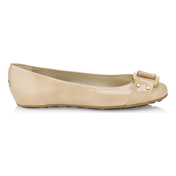 JIMMY CHOO Morse nude patent leather ballerinas - These Morse flats are the perfect ballerinas. Team with...
