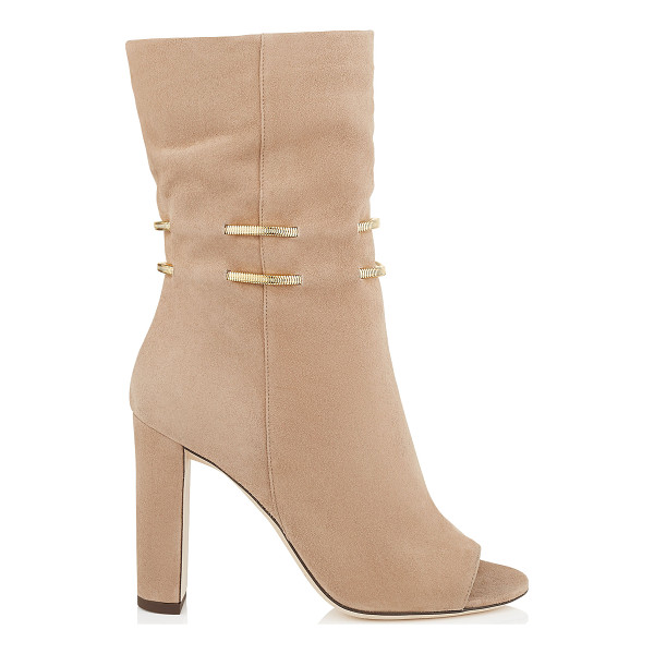 JIMMY CHOO Mysen 100 nude suede sandal booties with metal chain detail - A stylish sandal bootie with a seventies feel. The unique...