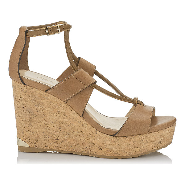 JIMMY CHOO NELSON 100 Tan Vacchetta Leather Cork Wedges - These strappy sandals are effortlessly chic and the...