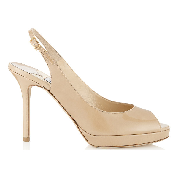 JIMMY CHOO NOVA Nude Patent Platform Peep Toe Sandals - These nude sling back sandals are a house favourite at...