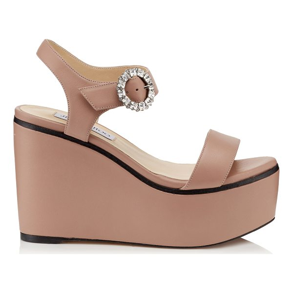 JIMMY CHOO NYLAH 100 Ballet Pink Nappa Leather Wedge Sandals with Crystal Buckle - Instantly elevate your look with the Nylah wedge sandal in...