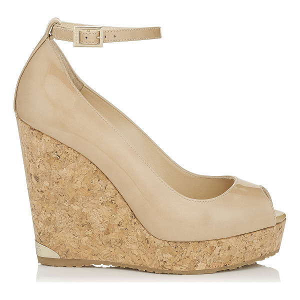 JIMMY CHOO PACIFIC 120 Nude Patent Leather Cork Wedges - Pacific in nude patent leather is a stylish and easy to...