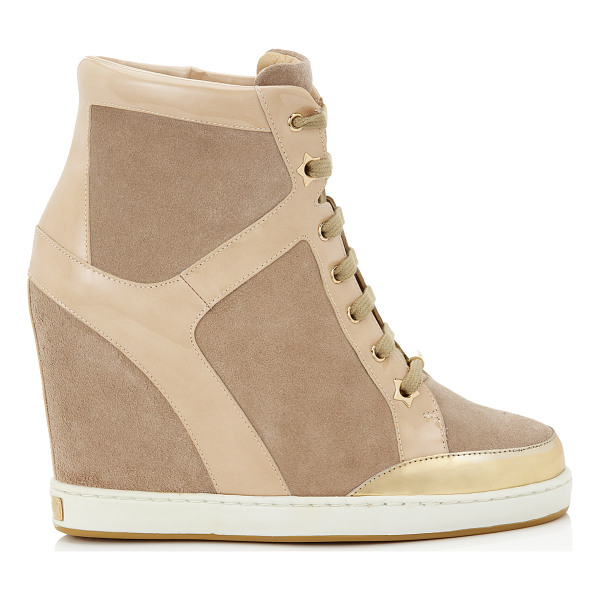 JIMMY CHOO Panama nude suede and patent wedge sneakers - Wedge sneakers continue to be at the top of the style...
