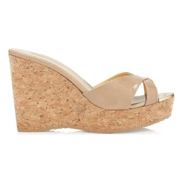 JIMMY CHOO PANDORA Nude Patent Leather Wedge Sandals - A pair of nude wedge sandals are a holiday must have. This...