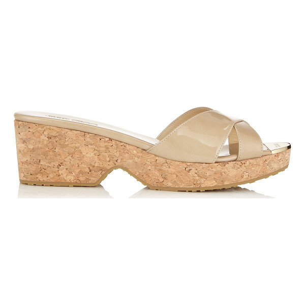 JIMMY CHOO PANNA Nude Patent Leather Wedge Sandals - These sixties inspired slip on sandals are an effortless...