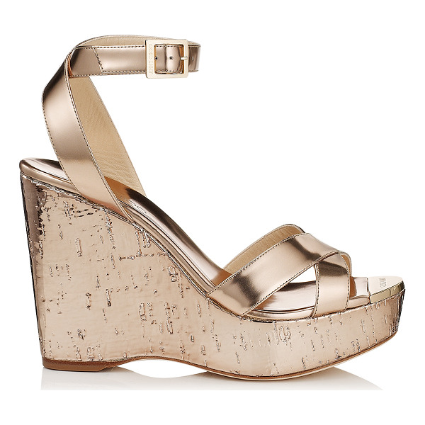 JIMMY CHOO Papyrus nude mirror leather and metallic cork wedges - Slip on by the pool with a kaftan or wear after dark with a...