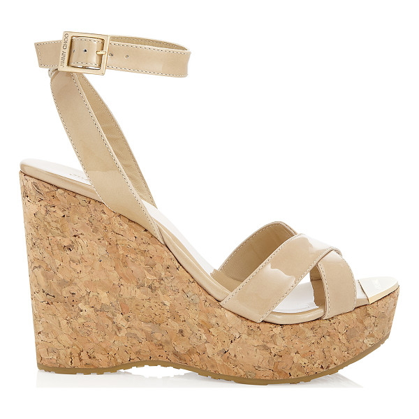 JIMMY CHOO Papyrus nude patent cork wedge sandals - Slip on by the pool with a kaftan or wear after dark with a...