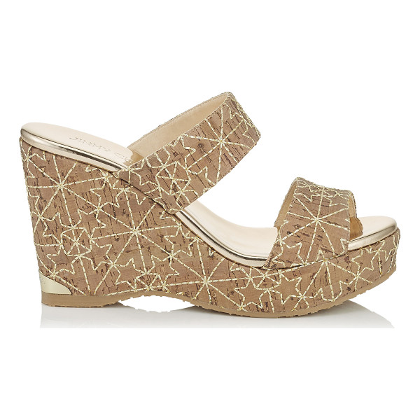 JIMMY CHOO PARKER 100 Gold Embroidered Stars on Cork Wedges - A versatile, easy to wear two piece slip on summer wedge in...