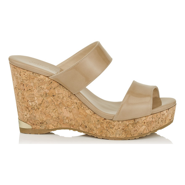 JIMMY CHOO PARKER 100 Nude Patent Cork Wedges - A versatile, easy to wear two piece slip on summer wedge...