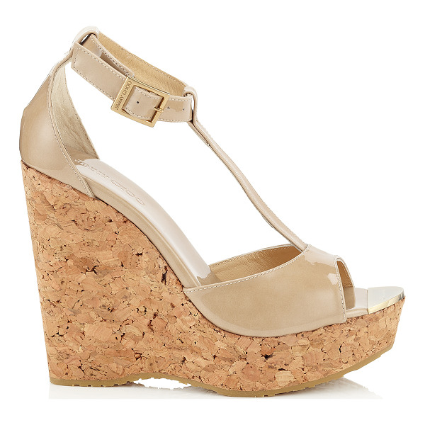 JIMMY CHOO PELA Nude Patent Leather Wedge Sandals - Pela cork wedge sandals are all you need to add a dash of...