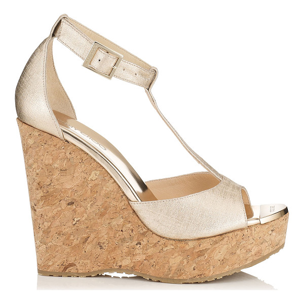 JIMMY CHOO Pela champagne textured leather cork wedges - Pela cork wedge sandals are all you need to add a dash of...