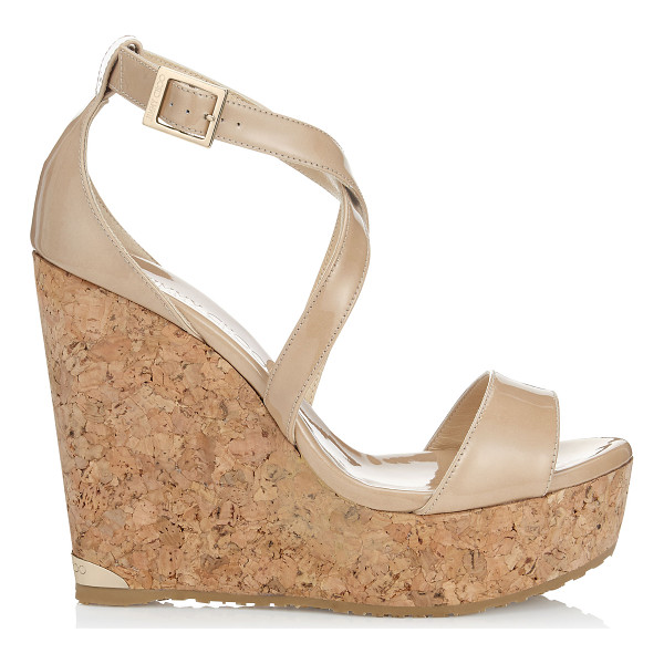JIMMY CHOO PORTIA 120 Nude Patent Leather Cork Wedges - The Portia wedge sandal in nude patent leather provides a...