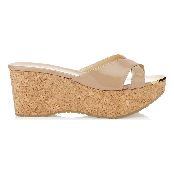 JIMMY CHOO PRIMA Nude Patent Leather Wedge Sandals - Slip a kaftan over your bikini and put on these chic slides...
