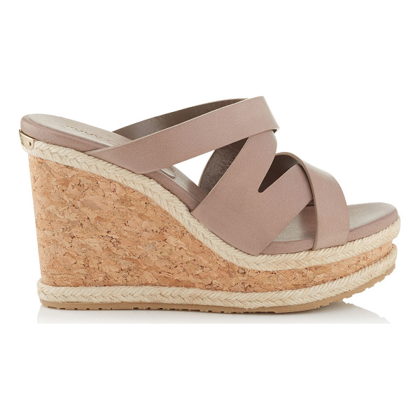 JIMMY CHOO Prisma 100 mink vachetta leather cork wedges - A versatile, easy to wear slip on summer wedge with an...