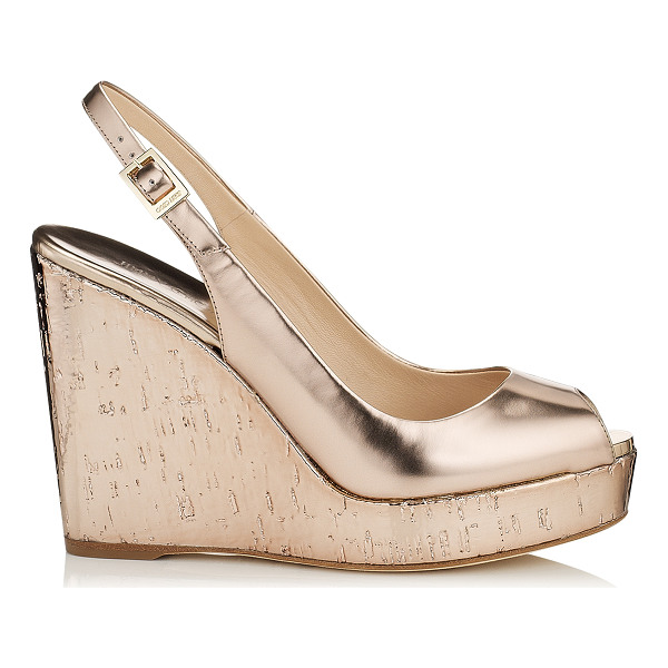 JIMMY CHOO Prova nude mirror leather and metallic cork wedges - Slip on by the pool with a kaftan or wear after dark with a...
