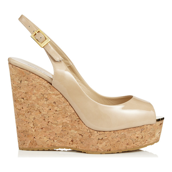 JIMMY CHOO PROVA Nude Patent Leather Sling Back Peep Toe Wedges - The nude patent leather Prova wedge is part of our...