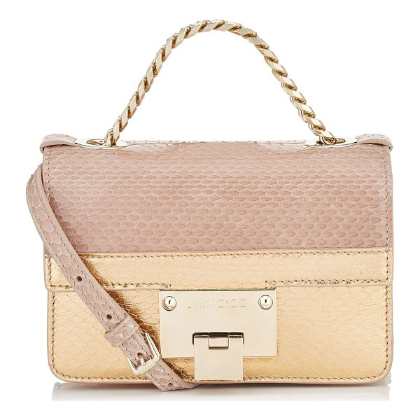 JIMMY CHOO REBEL SOFT MINI Ballet Pink and Tea Rose Metallic Elaphe Cross Body Bag - Still a fairly new addition to the family, the Rebel Soft...