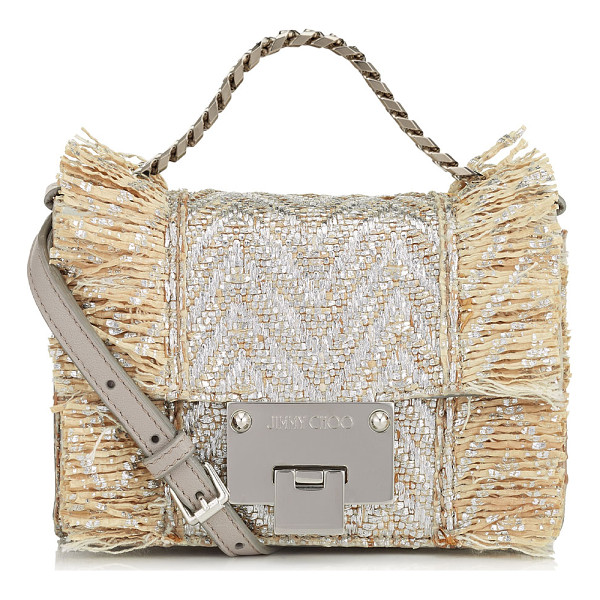 JIMMY CHOO REBEL SOFT MINI Natural and Silver Metallic Raffia Mini Cross Body Bag - A versatile, modern style with a sleek silhouette, this