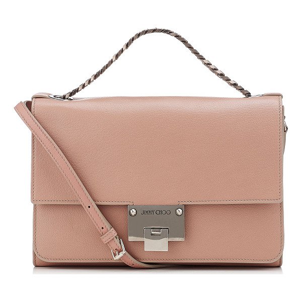 JIMMY CHOO REBEL SOFT/S Ballet Pink Soft Grained Leather Messenger Bag - A versatile, modern style with a sleek silhouette, this new