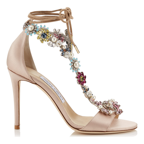 JIMMY CHOO REIGN 100 Dusty Rose Satin Sandals with Camellia Mix Anklet - A refined two piece sandal with ankle tie detailing, which...