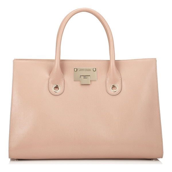 JIMMY CHOO RILEY Ballet Pink Soft Grained Leather Tote Bag - Comfortable to carry with easy internal access, this tote...