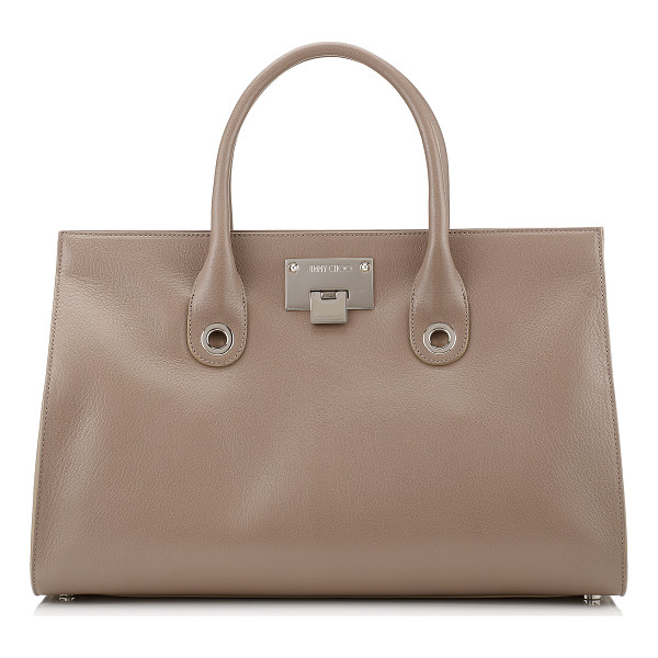 JIMMY CHOO RILEY Light Mocha Soft Grained Goat Leather Tote Bag - Comfortable to carry with easy internal access, this tote...