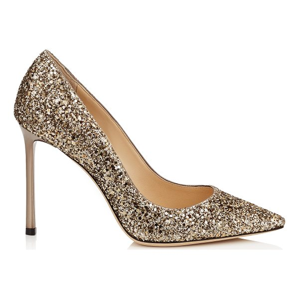 JIMMY CHOO ROMY 100 Antique Gold Coarse Glitter Pointy Toe Pumps - The ever-classic Romy heel gets a statement update with an...