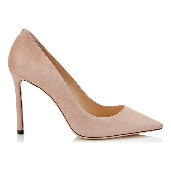 JIMMY CHOO ROMY 100 Ballet Pink Suede Pointy Toe Pumps - The ever-classic Romy heel gets a contemporary update in...