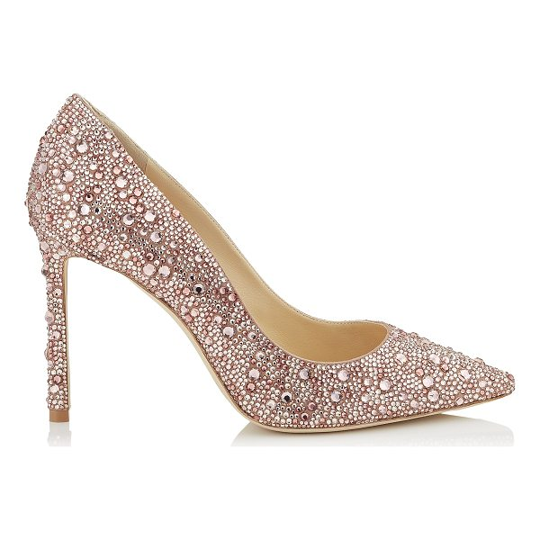 JIMMY CHOO ROMY 100 Ballet Pink Suede Pointy Toe Pumps with Crystal Hotfix - The classic Romy heel gets a contemporary update in ballet...