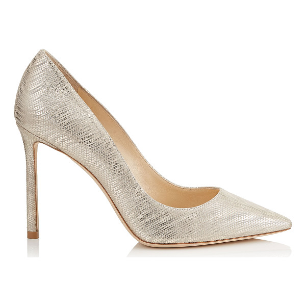 JIMMY CHOO ROMY 100 Champagne Metallic Mini Print Leather Pointy Toe Pumps - The classic pointy toe pump has been slightly updated with...