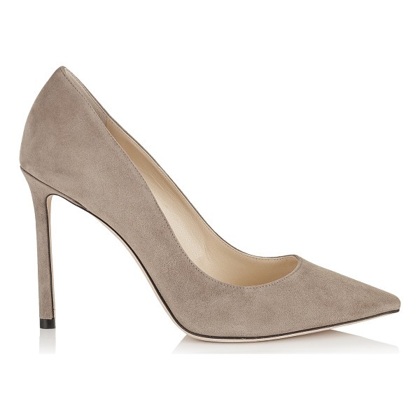 JIMMY CHOO ROMY 100 Light Mocha Suede Pointy Toe Pumps - The classic pointy toe pump has been slightly updated with...
