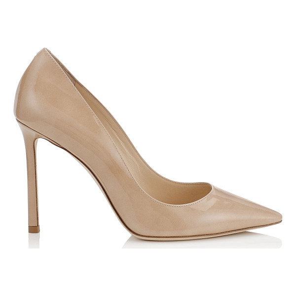 JIMMY CHOO ROMY 100 Nude Patent Leather Pointy Toe Pumps - The ever-classic Romy heel gets a statement update in...