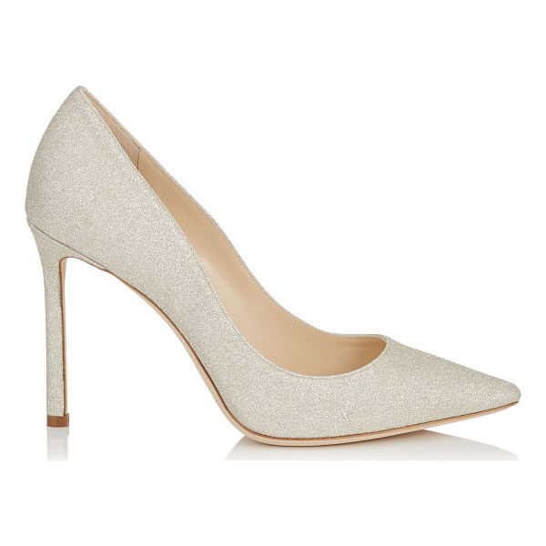 JIMMY CHOO ROMY 100 Platinum Ice Dusty Glitter Pointy Toe Pumps - The classic pointy toe pump has been slightly updated with...