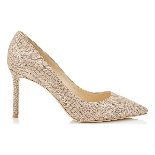 JIMMY CHOO ROMY 85 Nude Metallic Embossed Lame Leather Pointy Toe Pumps - The ever-classic Romy heel gets a statement update with...