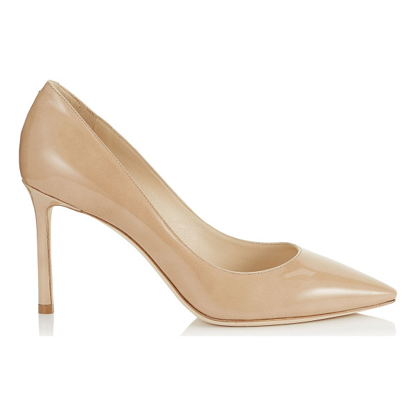 JIMMY CHOO ROMY 85 Nude Patent Leather Pointy Toe Pumps - The classic Romy heel in nude patent leather is the essence...