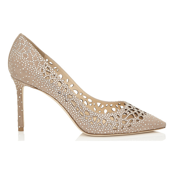 JIMMY CHOO ROMY 85 Nude Perforated Suede with Crystal Hotfix Detailing Pointy Toe Pumps - The classic pointy toe pump has been slightly updated with...