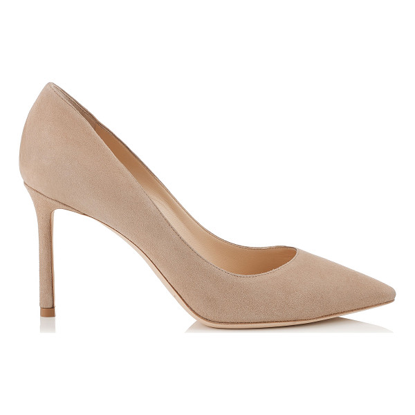 JIMMY CHOO ROMY 85 Nude Suede Pointy Toe Pumps - The classic pointy toe pump has been slightly updated with...