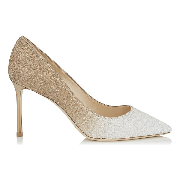 JIMMY CHOO ROMY 85 Optic White and Light Honey Coarse Glitter Degradé Pointy Toe Pumps - The classic pointy toe pump has been slightly updated with...