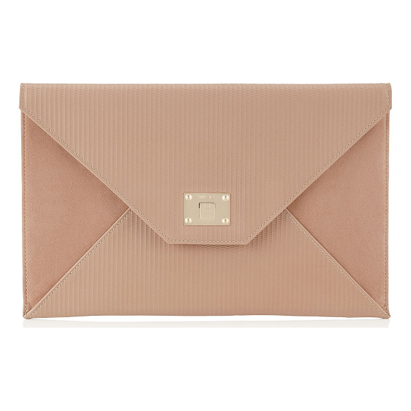 JIMMY CHOO Rosetta ballet pink embossed striped leather and suede clutch bag - A sleek and modern envelope clutch bag. Rosetta features...