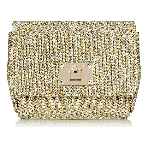 JIMMY CHOO Ruby gold lamé glitter fabric clutch bag with chain shoulder strap - A new style for Jimmy Choo, Ruby is a compact clutch bag,...