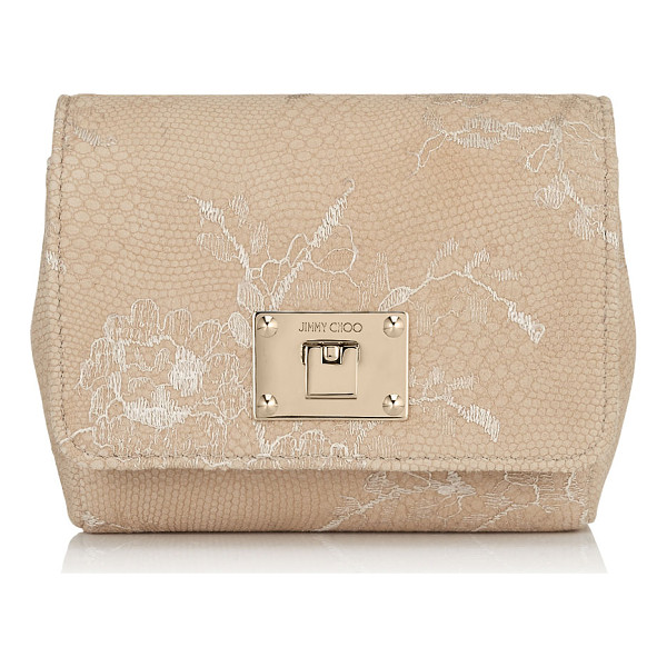 JIMMY CHOO Ruby nude lace on leather mini cross body bag - A compact clutch bag, carried neatly in your hand or worn...