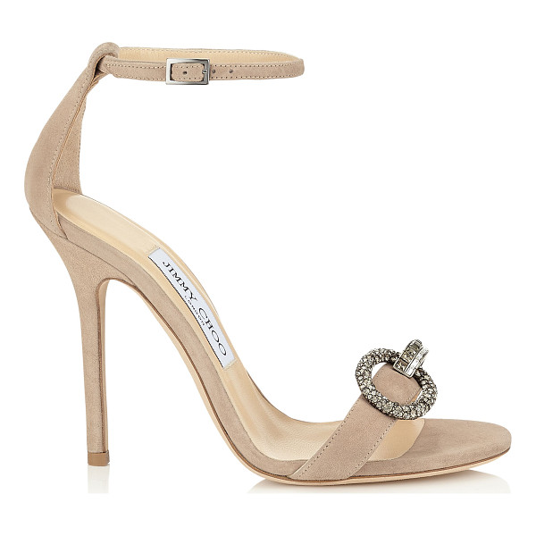 JIMMY CHOO Tamsyn 110 nude suede sandals with crystal piece - A timeless evening sandal, perfect for the red carpet. The...