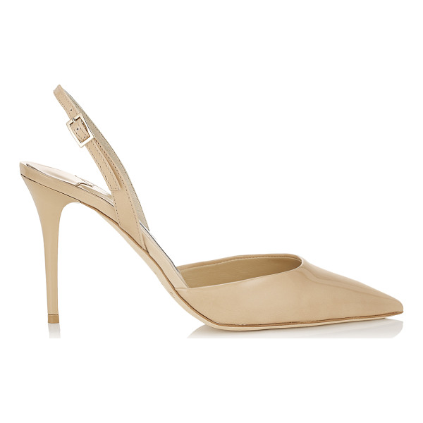 JIMMY CHOO Tilly nude patent leather sling back pumps - These nude patent leather sling back pumps are a verstaile...