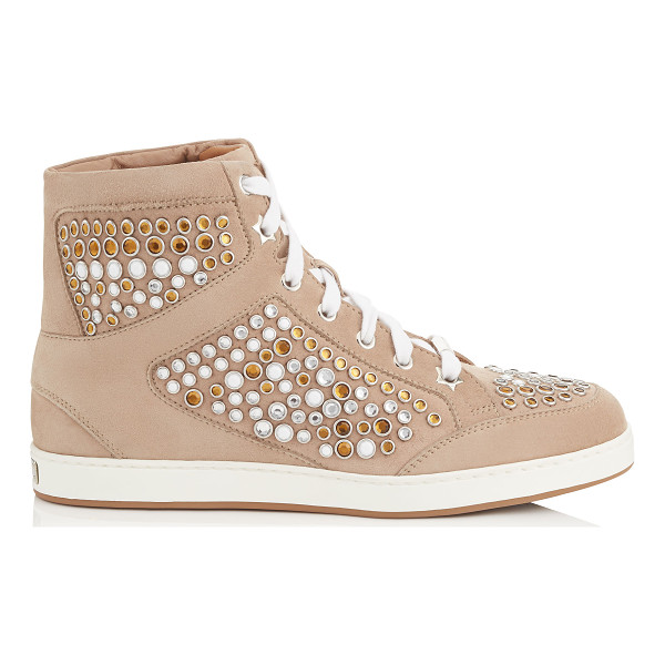JIMMY CHOO Tokyo nude suede high top trainers with metal studs - A popular high top lace up trainer, perfect for the...