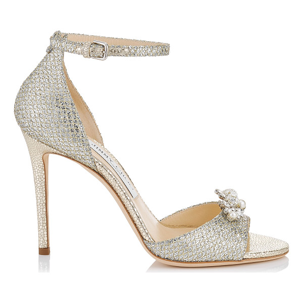 JIMMY CHOO TORI 100 Champagne Glitter Fabric Sandals with Jewelled Clip - Classic and elegant, Tori will bring grace and...