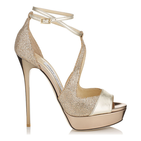 JIMMY CHOO Valdia light gold textured leather and glittery fabric platform sandals - These platform evening sandals will surely make a...